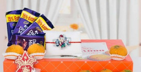 Dairy Milk Chocolates, Laddoos Box, Shagun Envelope and Single Rakhi Combo