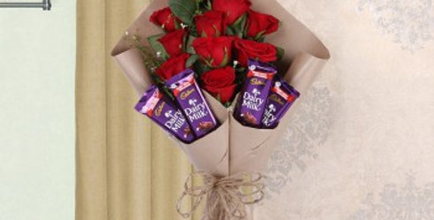 Small Red Rose Bouquet and Dairy Milk Chocolates