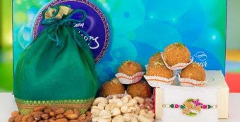Big Celebrations Box, Laddoos, Single Tie Rakhi and Dry Fruits Potli Combo