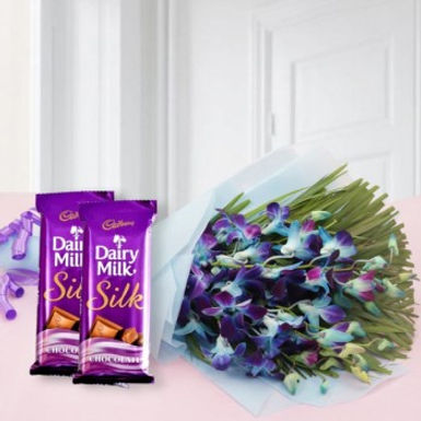 Blue Orchids and Double Dairy Milk Silk Combo