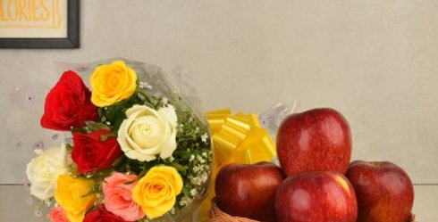 Assorted Roses Bouquet and Apple Basket Combo