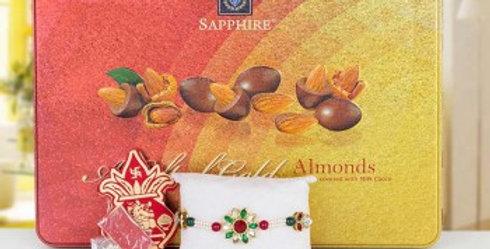 Almond Chocolates, Single Rakhi and Tiny Shagun Combo