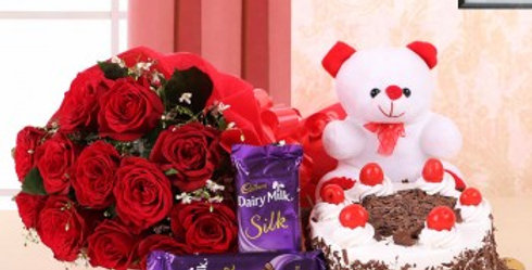 Red Rose, Dairy Mik Silk, Teddy and Black Forest Cake Combo
