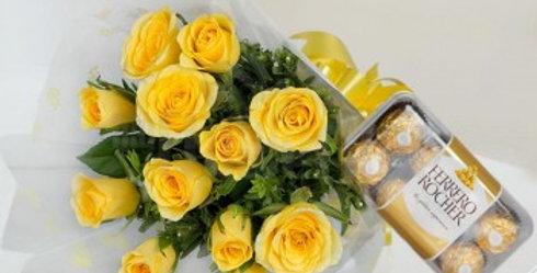 Yellow Roses Bouquet and Big Ferrero Rocher Box Combo