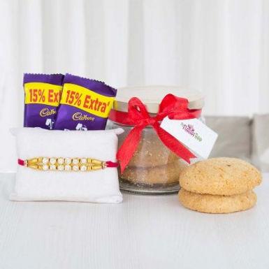 Double Dairy Milk, Cookies and Single Rakhi Combo