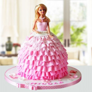 Barbie in Pink Gown Cake