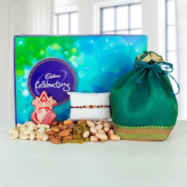 Big Celebration Box, Dry Frutis Potli and Single Rakhi Combo