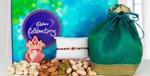 Big Celebration Box, Dry Frutis Potli and Single Rakhi Combo