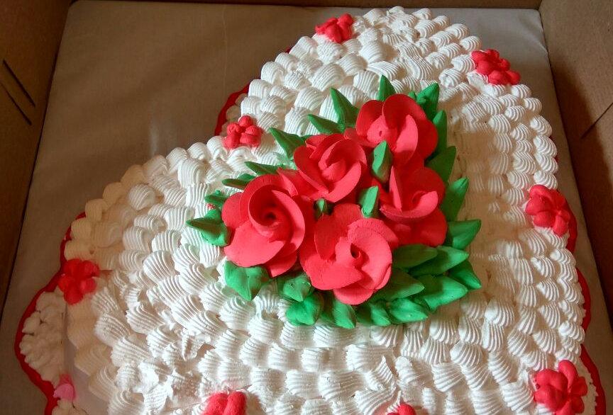 Designer Dollop Heart Cream Cake