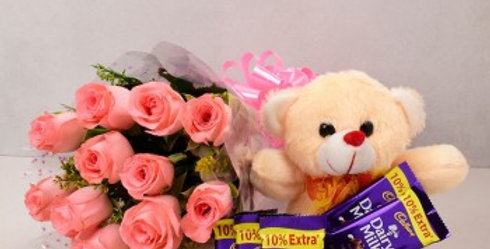 Pink Roses Bouquet, Teddy Bear and Small Dairy Milk Chocolates Combo