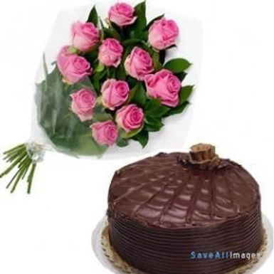 Pink Rose and chocolate cake