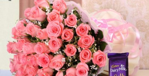 Pink Roses Bouquet and Dairy Milk Silk (Large)