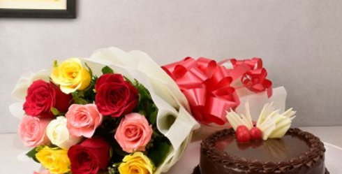 Assorted Roses Bouquet and Chocolate Cake Combo