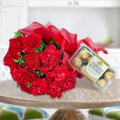 Red Carnations Bouquet and Ferrero Rocher Box