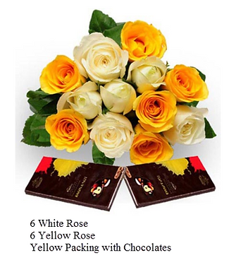 Assorted Red and Yellow Roses with Dark Chocolates
