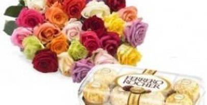 20 Assorted Roses and Ferrero Rocher Box