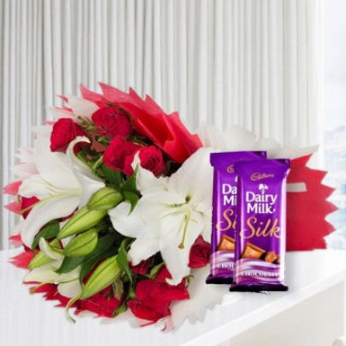 White Lillies and Double Dairy Milk Silk Combo