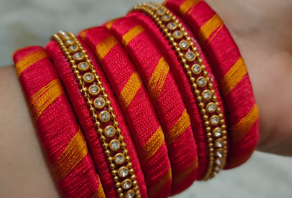 Glass Thread Bangles Multi RED