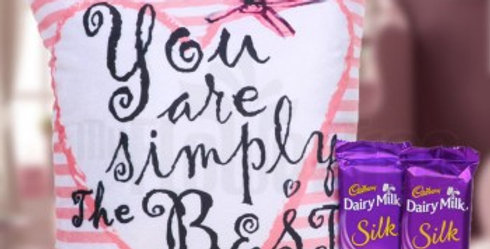 You Are Simply The Best Cushion and Large Dairly Milk Silk Combo
