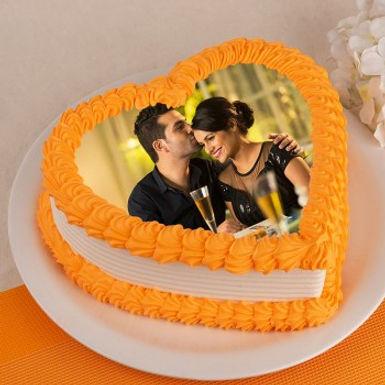 Orange Droplets Heart Shaped Photo Cake