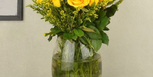 Yellow Roses with Vase Set