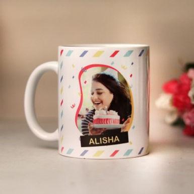 Customized Name and Photo Striped Background Mug