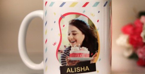 Customized Name and Photo Striped Background Mug