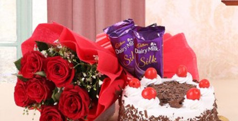 Red Rose Bouquet, Dairy Milk Silk and Black Forest Cake Combo