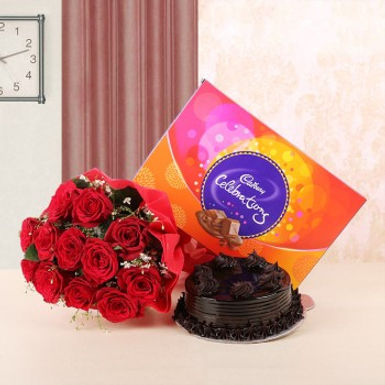 Red Rose Bouquet, Celebrations Box and Chocolate Cake Combo
