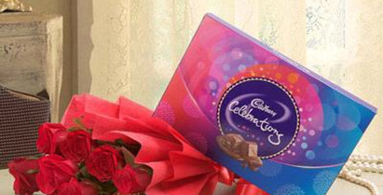 Red Rose Bouquet with Cadbury Celebrations Box
