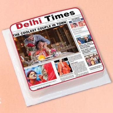 Newspaper Print Photo Cake With Customized Photo
