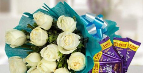 White Roses Bouquet and Dairy Milks Combo