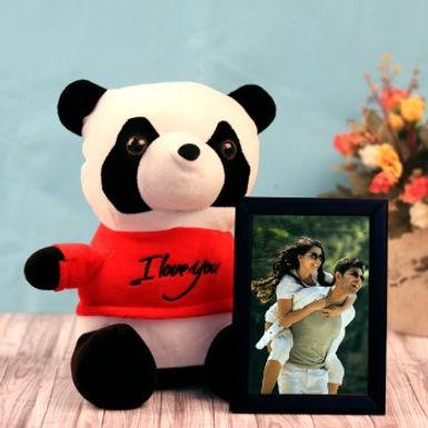 Panda Stuffed Toy and Photo Frame Combo