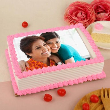 Pink Droplets Rectangle Photo Cake