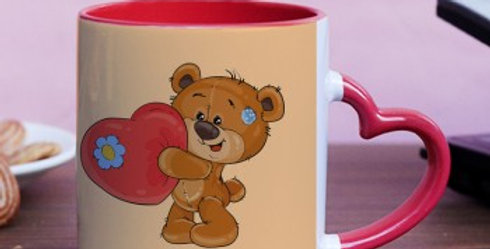 Cute Teddy Holding Heart with Customized Name Mug