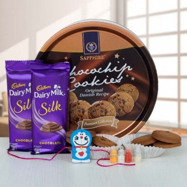 Choco-Chip Cookies, Double Dairy Milk Silk and Doraemon Rakhi Combo