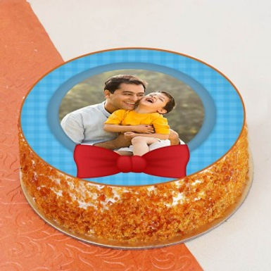 Round Cute Print with Bow Photo Cake