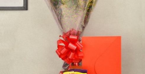 Small Rose Bouquet with Dairy Milk and Card