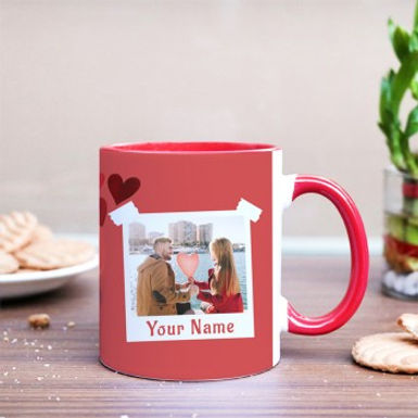 Pink Mug with Hearts and Customized Polaroid Photo Print Mug