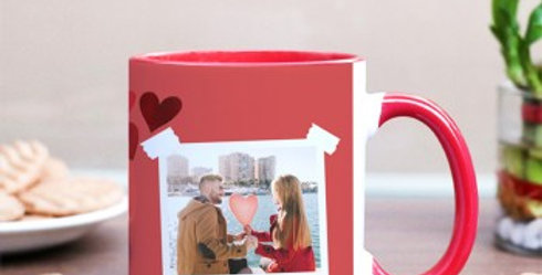 Pink Mug with Hearts and Customized Polaroid Photo Print Mug