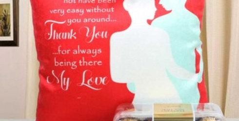 Cute Message Pillow and Ferrero Rocher Box Combo