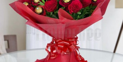 Red Roses and Ferrero Rocher Bouquet