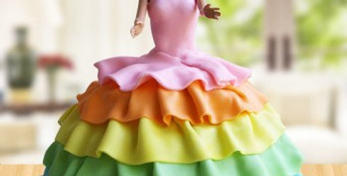 Rainbow and Ruffles Barbie Cake