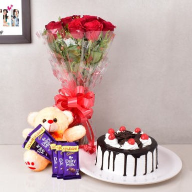 Red Roses Bouqet, Black Forest Cake, Teddy and Dairy Milk Chocolates Combo