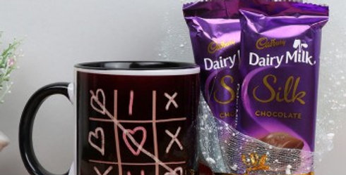 Tic-Tac-I ❤️ U Mug and Double Dairy Milk Silk Combo