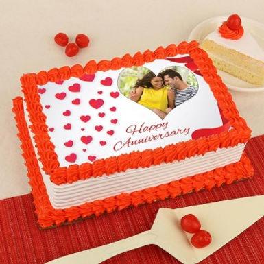 Cute Anniversary Photo Cake