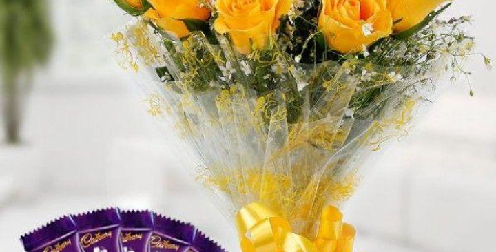 Yellow Roses Bouquet with Chocolates
