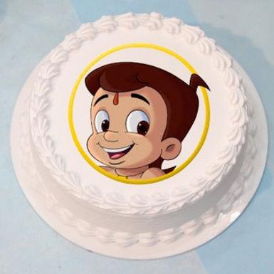 Chhota Bheema Round Photo Vanilla Cake