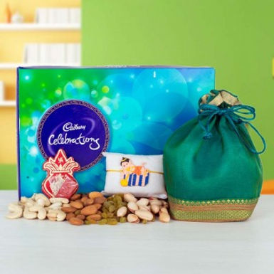 Big Celebration Box, Dry Frutis Potli and Chhota Bheem Rakhi Combo