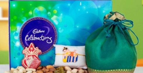 Big Celebration Box, Dry Frutis Potli and Chhota Bheem Rakhi Combo